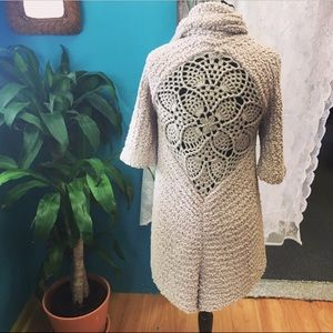 BCBGMaxAzria fluffy creme crochet back cardigan